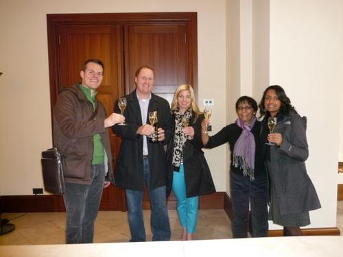 Enjoying a coupe de champagne!