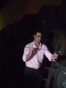 Trying sherry from the traditional venencia, which is dipped into the cask, at Bodegas Rey Fernando de Castilla