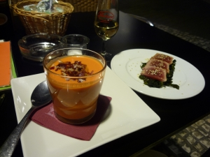 Pumpkin soup and some tuna